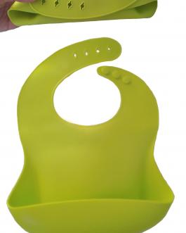Bavoir silicone souple ajustable avec récupérateur