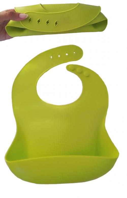 bavoir silicone souple réglable avec récupérateur vert
