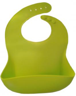 bavoir silicone souple avec récupérateur vert