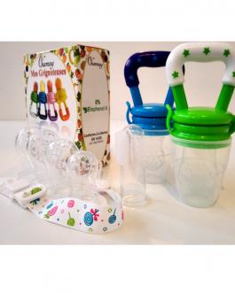 Grignoteuse pour bébé : lot de deux avec tétines évolutives