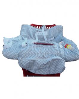 Large protège chariot avec ceinture de sécurité pour hygiène bébé (Gris)