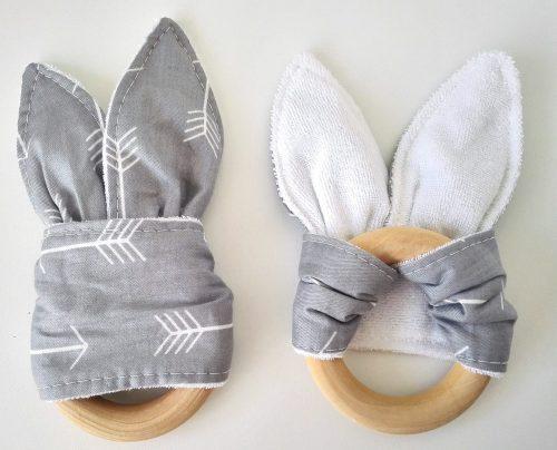 anneau de dentition pour bébé en bois en forme d'oreille de lapin